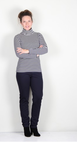 Two Danes Agnes Roll Neck Tee Off White/Navy Stripe
