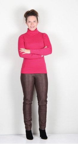 Two Danes Agnes Roll Neck Tee Chilli/Pink Stripe