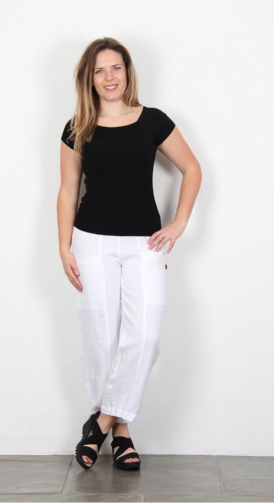 Vetono Linen Pocket Trousers White