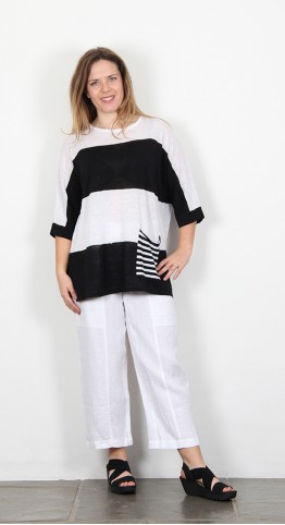 Vetono Striped Pullover Black White