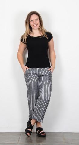 Vetono Cropped Trousers Black Stripe