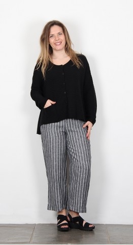 Vetono Ribbed Knit Jacket Black