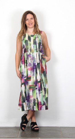 Vetono Linen Sun Dress Multi Abstract Print