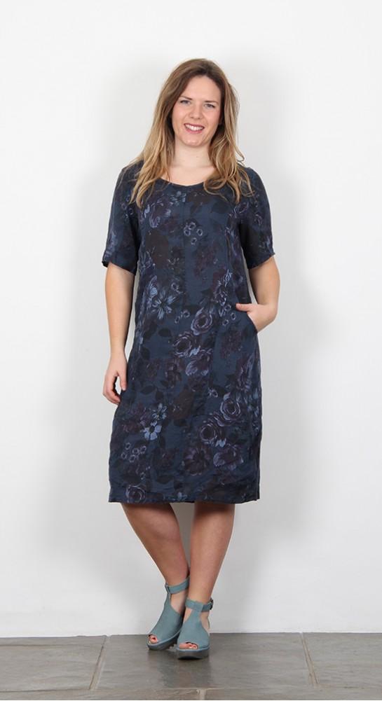 Vetono Linen Bubble Shift Dress Blue