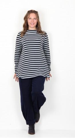 Vetono Fleece Knit A-Line Top Navy Stripe
