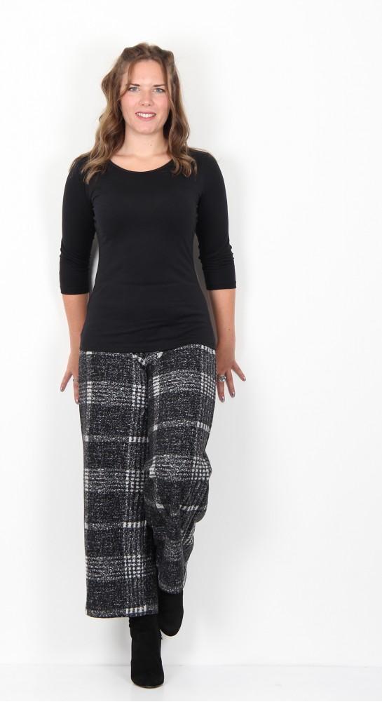Vetono Fleece Cropped Trousers Black Cream