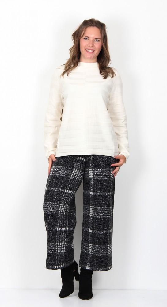 Vetono Short Self  Striped Pullover Natural/White