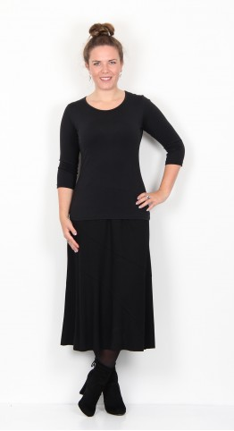 Vetono Flared Jersey Skirt Black