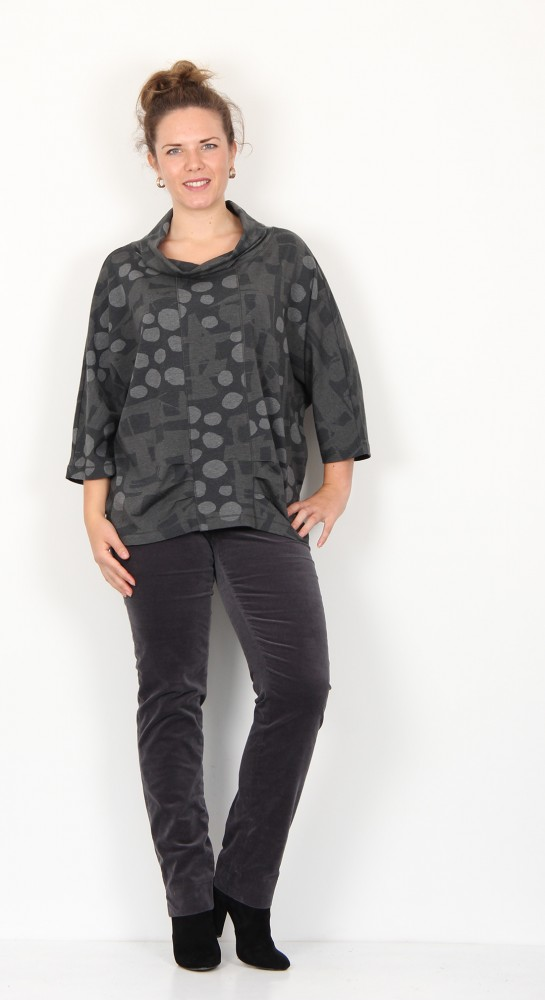 Vetono Cowl Neck Jersey Shirt Grey