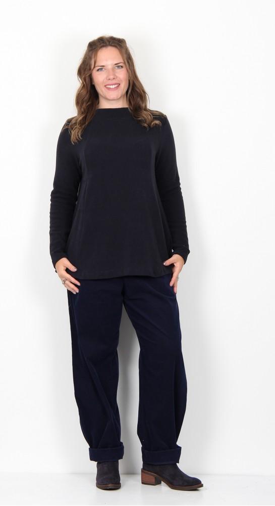 Vetono Fleece Knit A-Line Top Navy