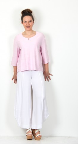 Vetono Textured Three Quarter Sleeve Top Rose