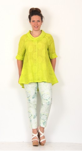 Vetono Cowl Neck Circle Top Lemon