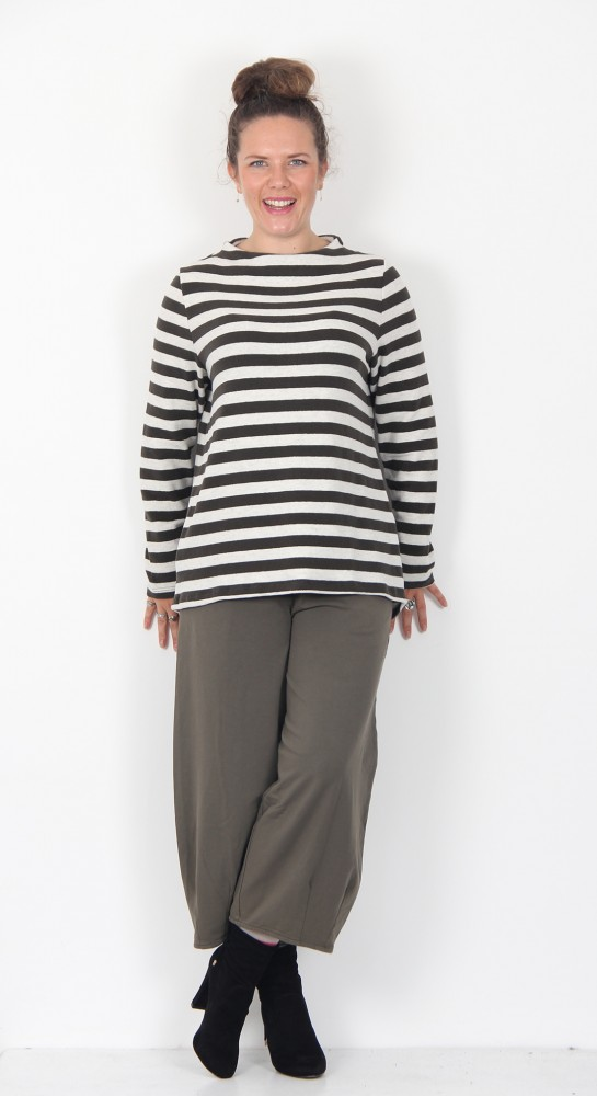 Vetono Button Back Top Stripe Dark Olive/Putty