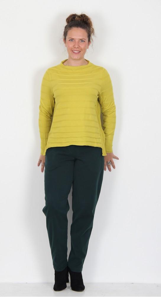 Vetono Short Self  Striped Pullover Olive Oil