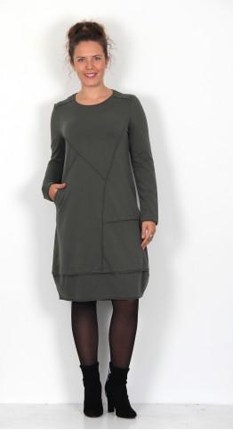 Vetono Rolled Edge Dress Dark Olive