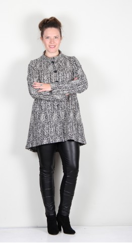 Vetono Fleece Jacket Herringbone Black/White