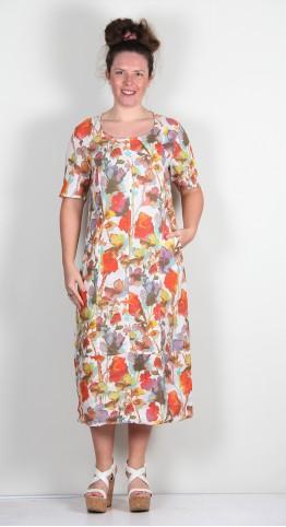 Vetono Linen Print Panel Dress Multi