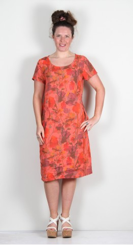 Vetono Linen Print Shift Dress/Tunic Red
