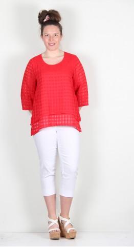 Vetono Linen Check Top Red