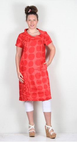 Vetono Linen Collar Shift Dress/Tunic Red