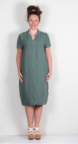 Vetono Linen Pintuck Dress Sage