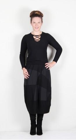 Vetono Patch Bubble Skirt Black