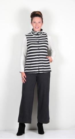 Vetono Super Soft Fleece Button Vest Grey Stripe