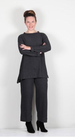 Vetono Super Soft Fleece Split Neck Tunic Anthracite
