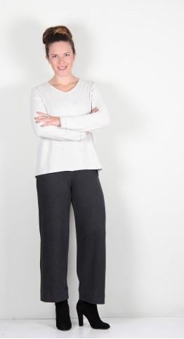 Vetono Super Soft Fleece Button Back Sweater Cream Marl