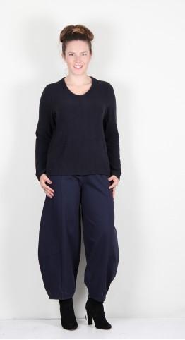 Vetono Super Soft Fleece Button Back Sweater Night Blue