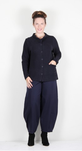 Vetono Super Soft Fleece Button Jacket Night Blue