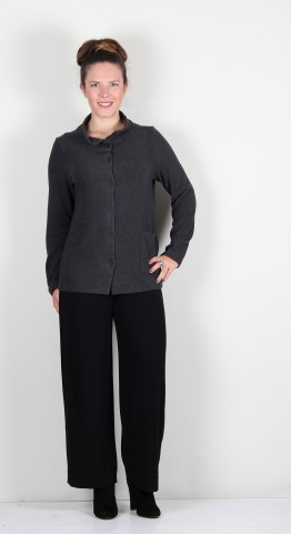 Vetono Super Soft Fleece Button Jacket Anthracite