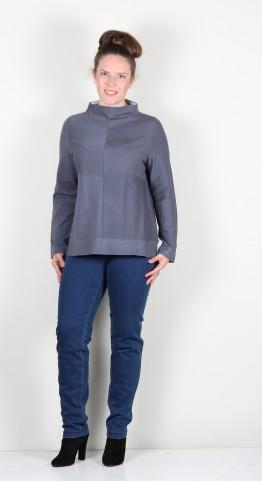 Vetono Mock Neck Knit Smoke Blue