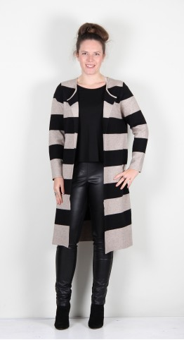 Yellow Label Winter Weight Knitted Coatigan Camel/Black Stripe