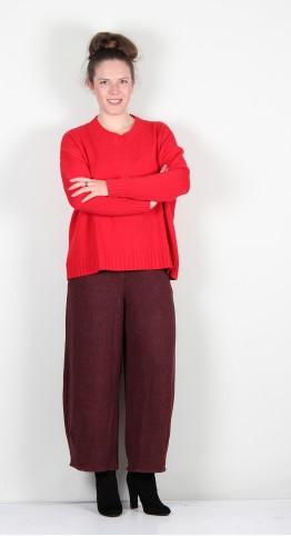 Yellow Label Boxy Rib Knit Red