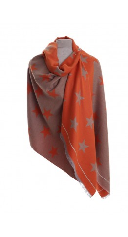 Pink Rooster Luxury Reversible Cashmere Blend Wrap Winter Stars Orange