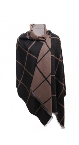 Pink Rooster Luxury Reversible Cashmere Blend Wrap Check Windowpane Charcoal