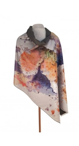 Pink Rooster Luxury Cashmere Blend Wrap Abstract Water Colour Mustard
