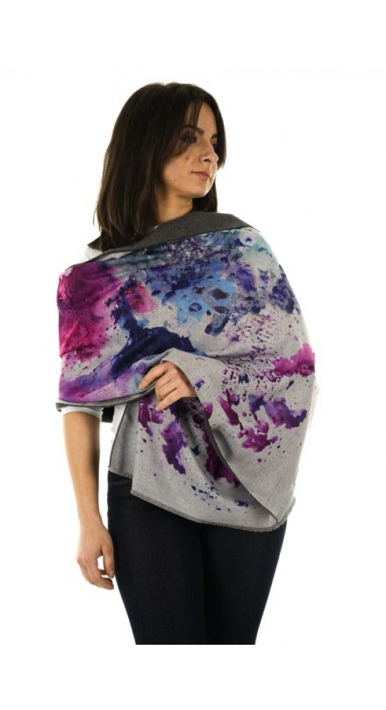 Pink Rooster Luxury Cashmere Blend Wrap Water Colour Indigo