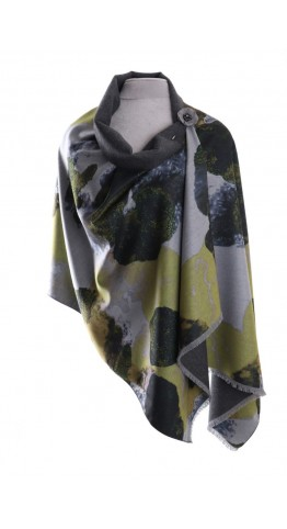 Pink Rooster Luxury Cashmere Blend Wrap Abstract Mustard