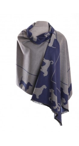 Pink Rooster Luxury Reversible Cashmere Blend Wrap Dog & Bone Denim