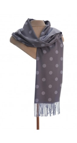 Pink Rooster Luxury Cashmere Blend Pashmina Reversable Spots Blue