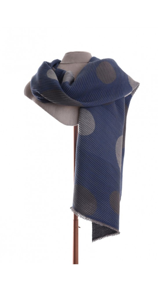 Pink Rooster Pleat Large Spots Scarf Blue