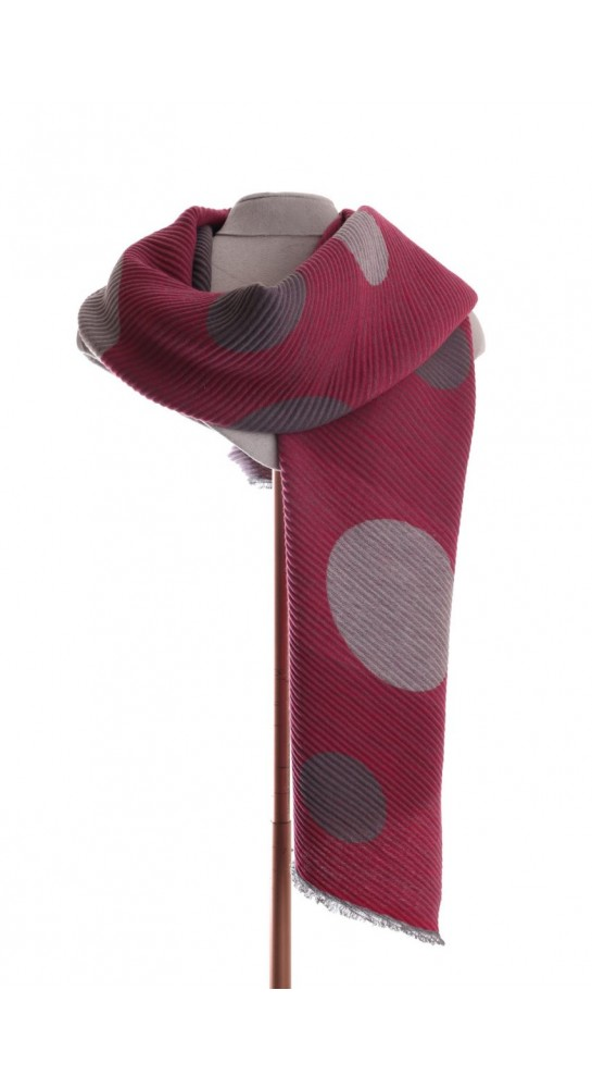 Pink Rooster Pleat Large Spots Scarf Pink