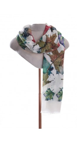 Pink Rooster Light Scarf Digital Print Autumn Leaves