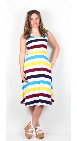 Zilch Clothing Sleeveless Dress Mimosa Stripe