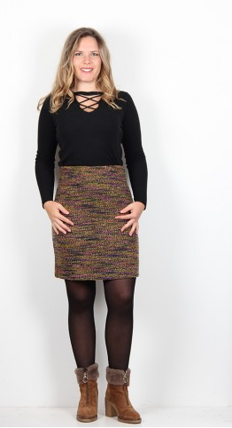 Zilch Clothing Tweed Skirt Gold