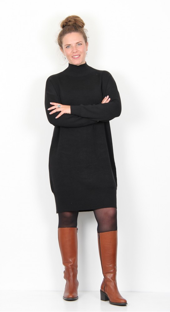 Zilch Clothing Funnel Neck Knit Dress Black