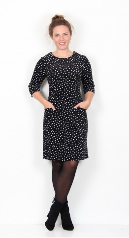 Zilch Clothing Fine Corduroy Pocket Dress Black Polka Dot