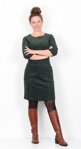 Zilch Clothing Fine Corduroy Pocket Dress Forest Polka Dot